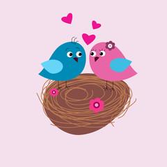 Postcard Valentine's Day with birds