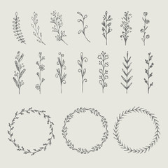 Circle floral borders, wreaths, frames. Sketch elements, hand-drawn with ink. Vector illustration