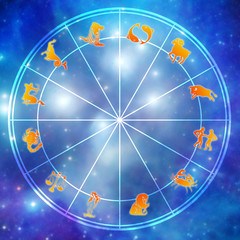 astrology illustration with zodiac signs