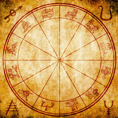 astrology chart and alchemy symbols on grunge background