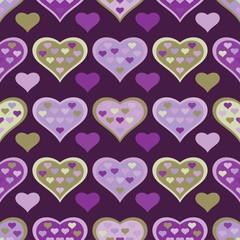 Seamless vector background with decorative hearts and double exposure