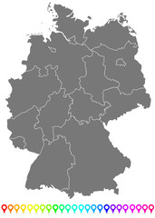 The Map of Germany With Boarders and Flags
