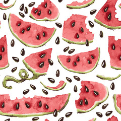 Vector Seamless Pattern with Watercolor Watermelon Slices