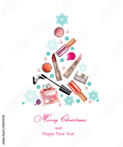 cosmetics and fashion christmas and new year background with a christmas tree made objects cosmetics