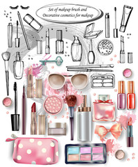 Hand drawn collection of make up and cosmetics. Vector illustration