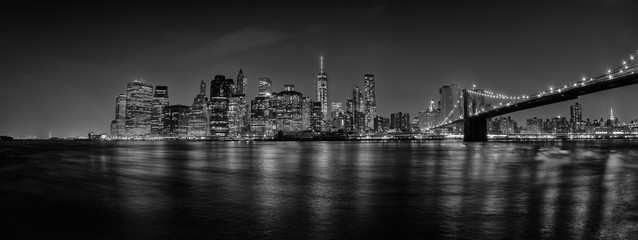 New York manhattan bridge night view