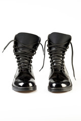 Black Leather Army Boots on white background