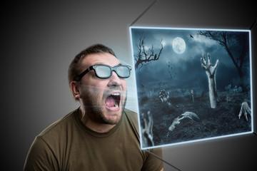Scared man in glasses