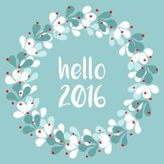 Hello 2016 watercolor vector wreath card