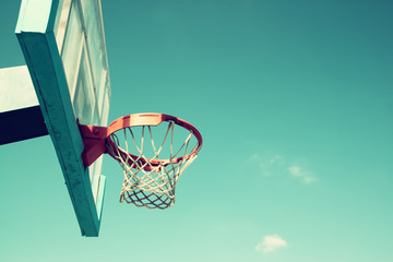 upward view of basketball hoop against sky
