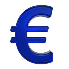 Euro sign from blue glass alphabet set, isolated on white. Computer generated 3D photo rendering.