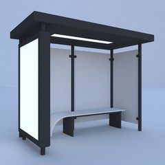 3D render bus shelter with blank ad citylight