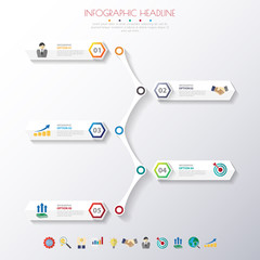 timeline infographics with icons set. vector. illustration.