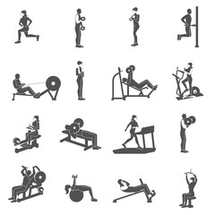 Gym Workout People Flat