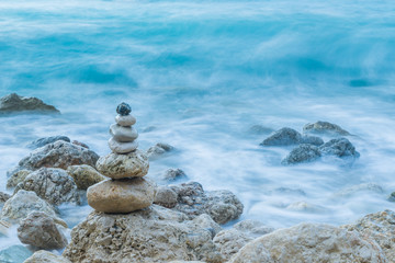 Sea dramatic landscape, harmony environment and zen stones tower
