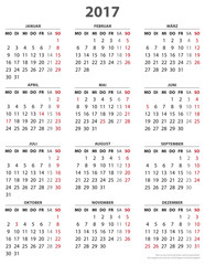Jahreskalender 2017, Vorlage