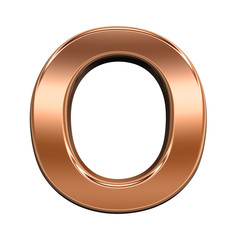 One letter from shiny copper alphabet set, isolated on white. Computer generated 3D photo rendering.