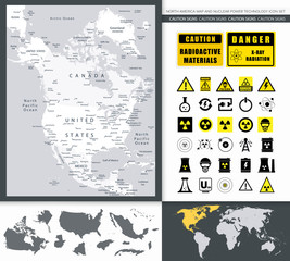 North America Map And Nuclear Power Technology Icon Set