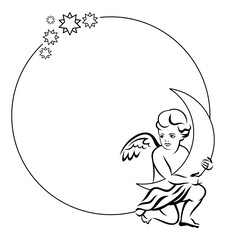 Round frame with little angel with moon in his hands