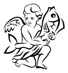 Image of the angel holds big fish