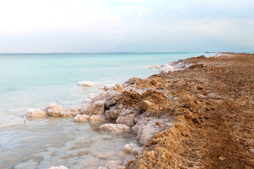 Dead sea - Typical accumulation of salt and minerals