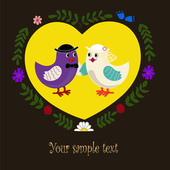 pair of birds - the bride and groom in a yellow heart wreath of flowers and leaves on a brown background