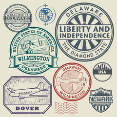 Label or stamp set with names of Delaware cities