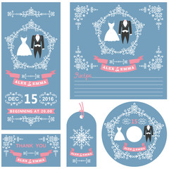 Wedding invitations set.Winter decor and dresses