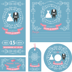 Wedding invitations set.Winter decor with dresses