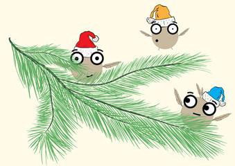 Monsters on a fir-tree branch