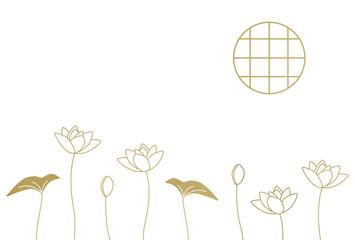 円窓と蓮の花 金の線画