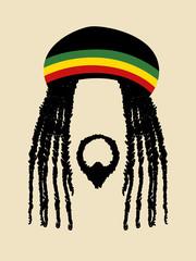 Face symbol of a man with dreadlocks hairstyle. Rasta, rastafarian, jamaica, reggae theme
