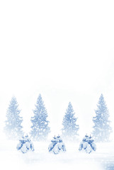 Winter forest. Winter landscape. New Year card
