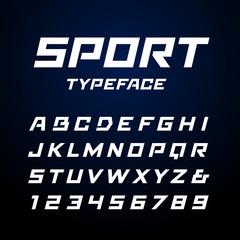 Sport font. Vector alphabet with latin letters and numbers.