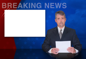 A news anchor man is reporting breaking news with a colorful background and a blank monitor screen to easily place your text and image on.