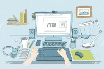 Vector illustration desktop designer. Drawn in sketch style. Org