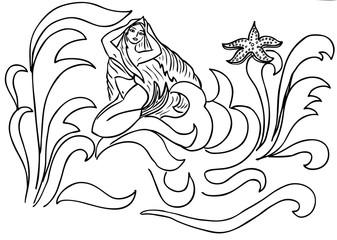 mermaid in the waves