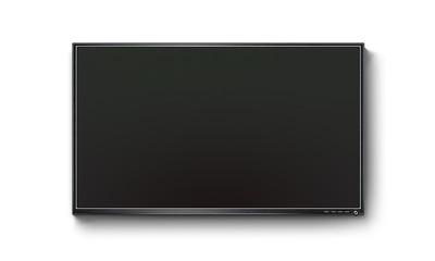 Black TV flat screen, plasma realistic illustration, tv mock up on the wall. Black HD led monitor mockup. Flatscreen panel stand isolated on white background. Show presentation on flat display set.