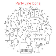 Party and Celebration Icons set Circular Shaped. Line Vector illustration.