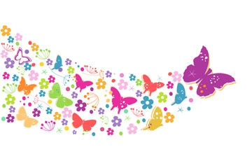Colorful spring flowers with butterflies background vector.