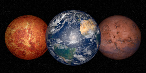 Wall Mural - Planet Earth, mars and venus on a space background
