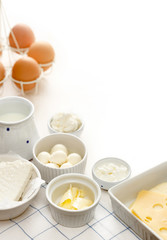 Fotobehang Zuivelproducten Dairy products on a white table
