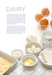 Poster Produit laitier Dairy products on a white table
