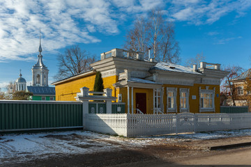 Wooden dwelling house in Russia. Vologda