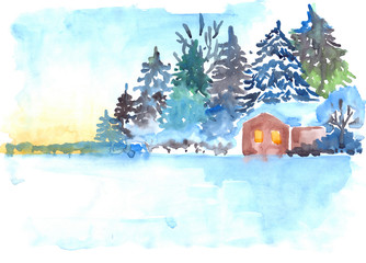Winter snowy pine forest and house landscape