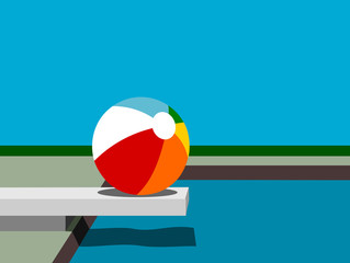 pool design with beach ball and diving board