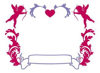 Valentine frame with Cupid silhouette