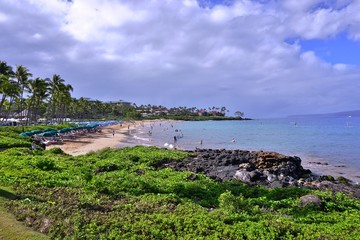 The Wailea area along the Pacific Ocean on the West shore of the island of Maui in Hawaii