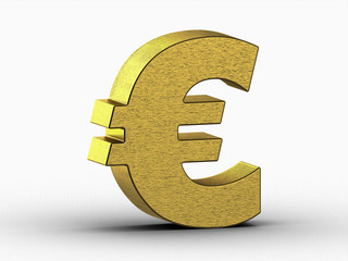 golden euro sign on white background