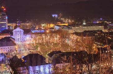 view on pre New Year Ljubljana city